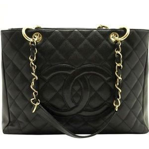 Auth CHANEL Black Caviar Grand Shopper Tote